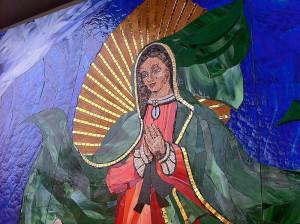 surfing madonna detail of mosaic
